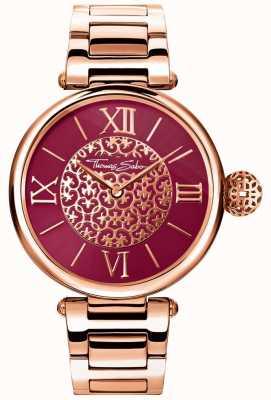 Thomas Sabo 女士业力玫瑰金色手镯红色阳光表盘手表 WA0306-265-212