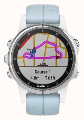 Garmin Fenix 5s加白色表圈浅蓝色橡胶表带 010-01987-23