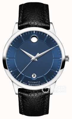 Movado 男士1881自动蓝色表盘黑色皮表带 0607020