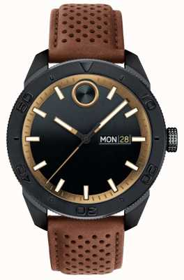 Movado 男士醒目黑色表盘棕色多孔皮革表带 3600496