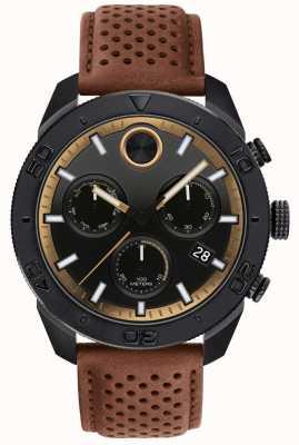 Movado 男士大胆的计时码表穿孔棕色皮革表带 3600515