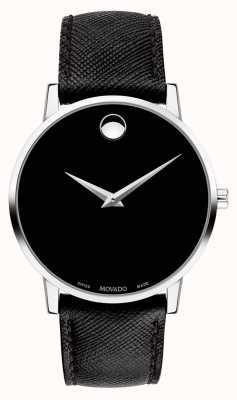 Movado 男装博物馆黑色皮革表带黑色表盘 0607194