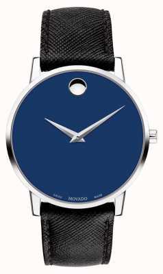 Movado 男装博物馆蓝色表盘黑色皮表带不锈钢 0607197