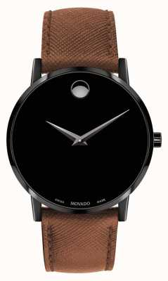 Movado 男装博物馆棕色皮革表带黑色表盘 0607198