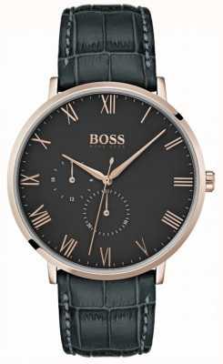 Boss 威廉经典深灰色皮革和表盘镀金表壳 1513619