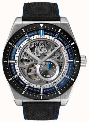 Hugo Boss 男士标志性自动镂空黑色帆布表带 1513643