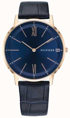 Tommy Hilfiger 男士库珀蓝色皮革表带玫瑰金色调表壳 1791515