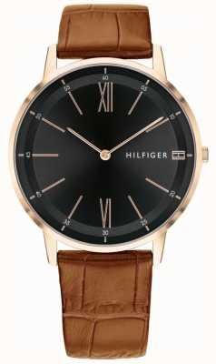 Tommy Hilfiger 男士库珀表棕色皮革黑色表盘表带精钢表壳 1791516