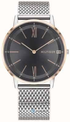 Tommy Hilfiger 男士库珀手表不锈钢网状手链黑色表盘 1791512