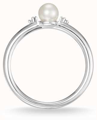 Thomas Sabo 纯银珍珠和白色钻石戒指尺寸54 D_TR0039-765-14-54