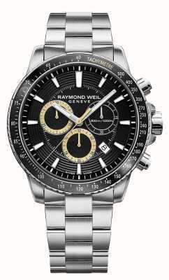 Raymond Weil 男士探戈300腕表不锈钢表链黑色计时码表 8570-ST1-20701