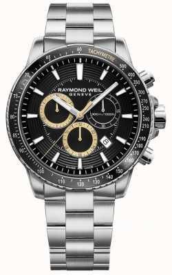 Raymond Weil 男士探戈300手表不锈钢手链黑色chrono 8570-ST1-20701