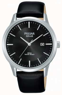 Pulsar 男士不锈钢表壳黑色太阳能表盘皮表带 PX3163X1