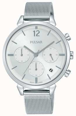 Pulsar 女士不锈钢表壳银色计时码表表盘 PT3943X1