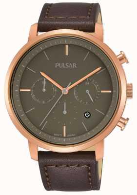 Pulsar 男士玫瑰金镀金表壳棕色皮表带 PT3940X1