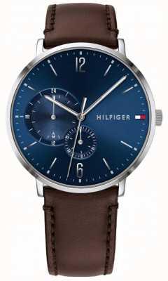 Tommy Hilfiger 男士蓝色表盘棕色皮革表带 1791508