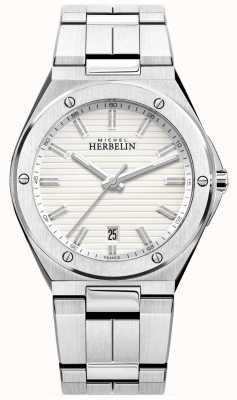 Michel Herbelin 男士不锈钢手链白色手表 12245/B12