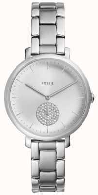 Fossil 女装jacqueline不锈钢银色水晶手表 ES4437