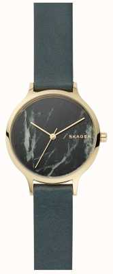 Skagen 女士anita手表灰色大理石和皮革表带 SKW2720