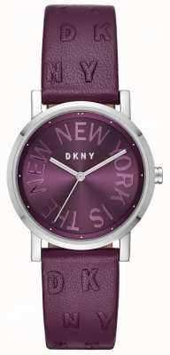 DKNY 女士soho紫色皮革紫色表盘手表 NY2762