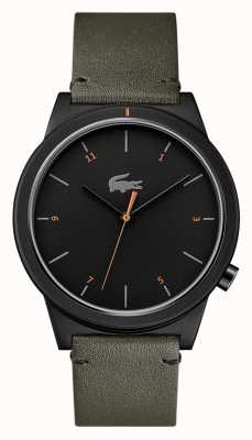 Lacoste 运动月亮灰色皮革表带黑色表盘 2010991