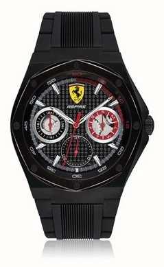 Scuderia Ferrari 男装向往黑色橡胶表带黑色表壳日期显示 0830538