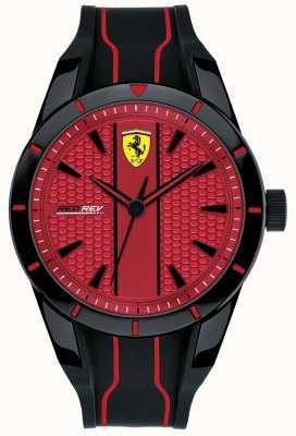 Scuderia Ferrari 男士redrev红色表盘黑色橡胶表带 0830540