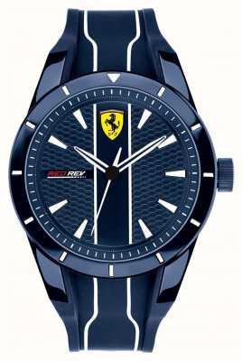 Scuderia Ferrari 男士redrev蓝色表盘蓝色橡胶表带 0830541