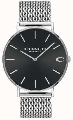 Coach 男士查尔斯银色网状手链黑色表盘手表 14602144