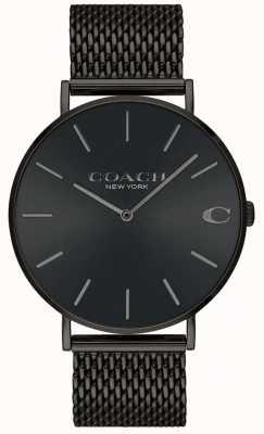 Coach 男士查尔斯黑色网状手链黑色表盘手表 14602148