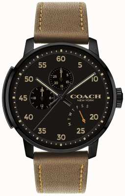 Coach 男士bleecker手表多功能黑色表盘 14602339