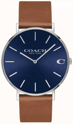 Coach Charles男士棕色真皮表带蓝色表盘 14602151