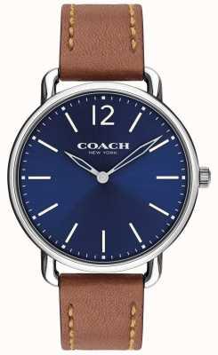 Coach 男士delancey超薄手表蓝色表盘棕色皮革表带 14602345