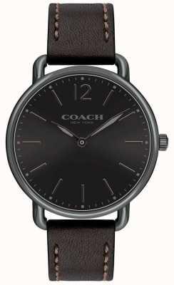 Coach 男士delancey超薄手表黑色表盘blackleather表带 14602346