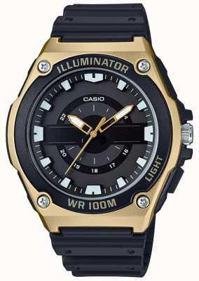 Casio 男士黑色和金色树脂照明器手表 MWC-100H-9AVEF