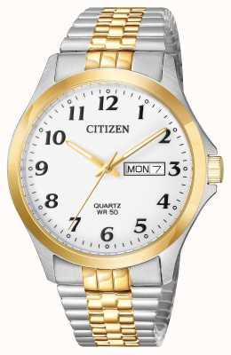 Citizen 男士石英双色不锈钢扩展手镯日期 BF5004-93A