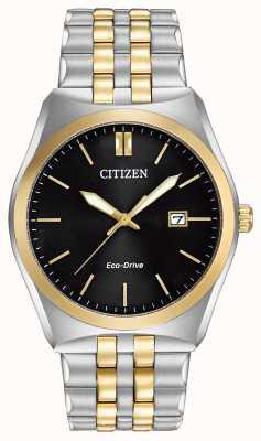 Citizen 男士Corso Eco Drive不锈钢和金色IP黑色表盘腕表 BM7334-58E