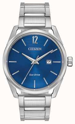 Citizen 男士生态驱动不锈钢蓝色表盘日期显示 BM7410-51L