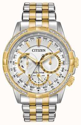 Citizen 男士calendrier生态驱动两音32钻石银色表盘 BU2084-51A