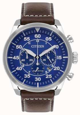 Citizen 男士avion eco-drive蓝色表盘棕色皮革表带wr100 CA4210-41L