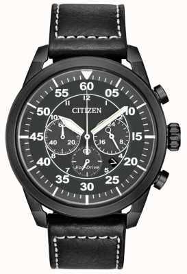 Citizen 男士avion eco-drive黑色真皮黑色表盘计时码表 CA4215-21H