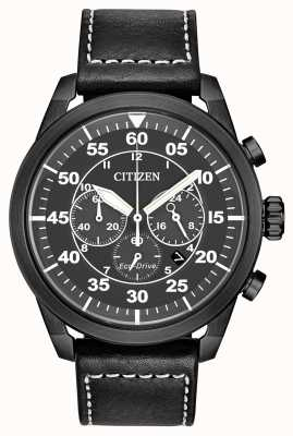 Citizen 男士Avion Eco Drive黑色皮革黑色表盘计时码表 CA4215-21H