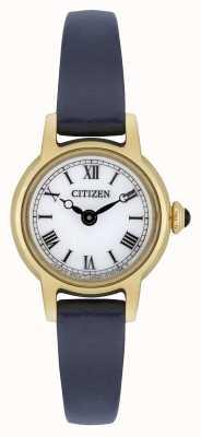Citizen 女式生态驱动蓝色皮革表带镀金白色表盘 EG2995-01A
