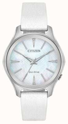Citizen 女式生态驱动银色表盘白色皮革表带 EM0590-03D