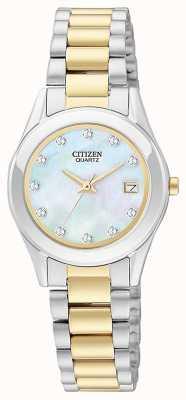 Citizen 女士石英珍珠手表和手链套装 EU2664-59D-SETR