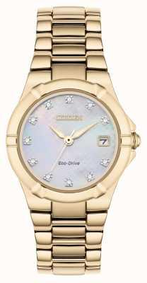 Citizen 女士生态驱动钻石表盘玫瑰金镀金 EW1533-50D