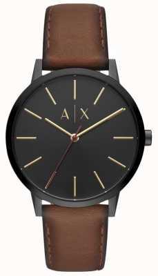 Armani Exchange Cayde男士棕色真皮表带黑色表盘 AX2706