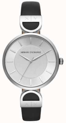 Armani Exchange Brooke女式黑色真皮表带银色表盘 AX5323