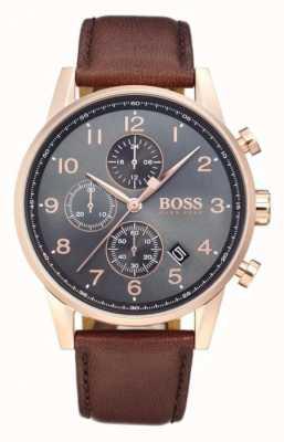 Hugo Boss 导航仪计时码表日期显示黑色表盘棕色皮革 1513496
