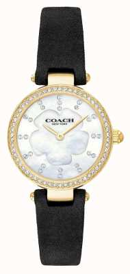 Coach 女式现代奢华黑色皮革表带珍珠贝母 14503103